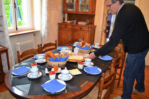 Het ontbijt op Le Manoir in Souillac
