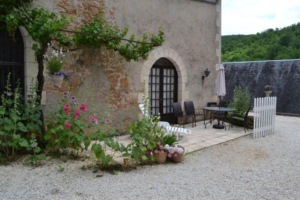 Le Manoir, terrasplanten aan gite Manseng