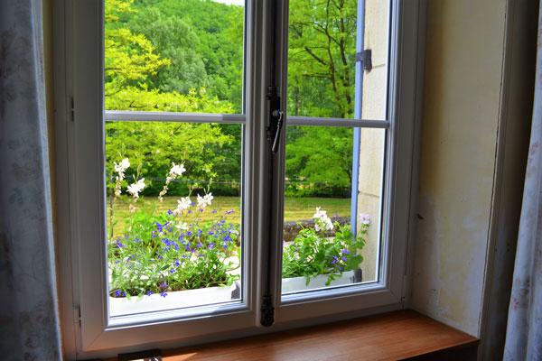 Le Manoir in Souillac, zicht vanuit het raam