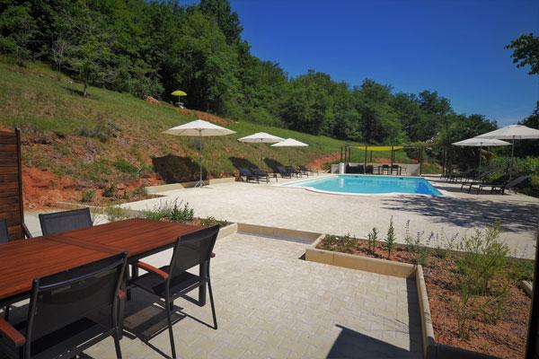 terras van gite voor 4 personen Duras Le Manoir Souillac