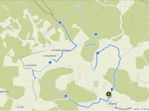 kaart van wandeling in Gignac, Lot, Occitanie