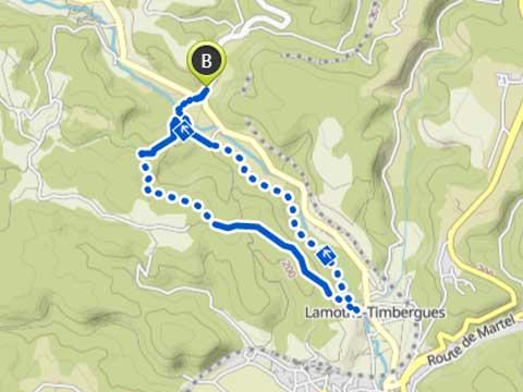 kaart van wandeling vanaf Le Manoir in Souillac