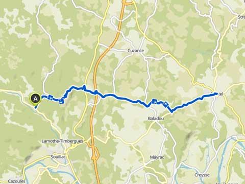 kaart van fietstocht vanaf Le Manoir in Souillac naar Martel