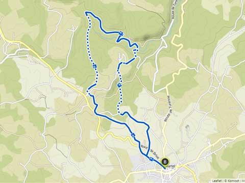 Kaart van wandeling van Martel naar Murel