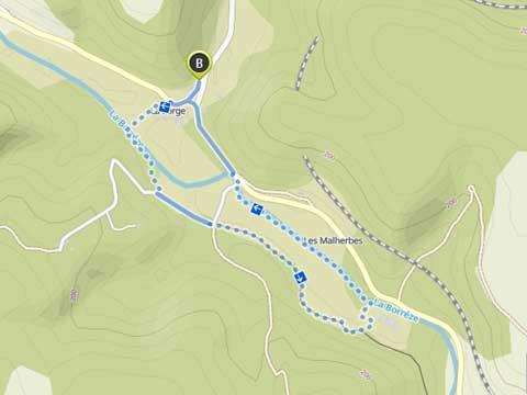 kaart wandeling door vallei van de Borrèze in Souillac