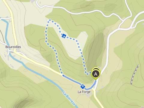 kaart van korte schapenwandeling vanaf Le Manoir in Souillac